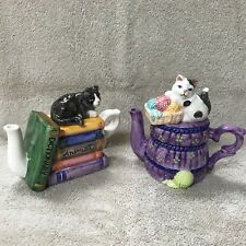 Ceramic Set Of 2 Decorative Cat Creamers Unbranded Books And Yarn