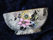 vintage ROYAL WINTON GRIMWADES black spot floral sugar bowl dish gold trim vgvc
