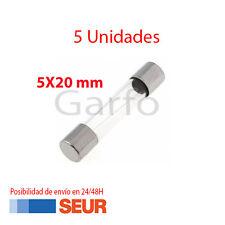 5X Fusible Rapido de Vidrio 5X20 mm 2A 250V. Pack 5 Fusibles Cristal