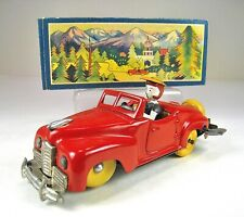 """SHOWA Tin Wind Up X Car Convertible With Driver 4.5"""" Mint In Box Occupied Japan"""