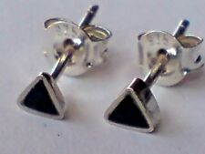 STERLING SILVER & BLACK ONYX TRIANGULAR SMALL 3mm. STUD EARRINGS only £6.50 NWT