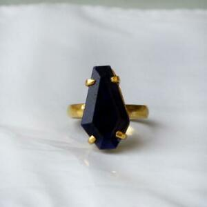 100% Natural Blue Sapphire Gemstone 925 Sterling silver Gold Plated Ring Unisex