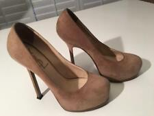 Authentic YSL Yves Saint Laurent Beige Suede Platform Heels Shoes sz 36.5