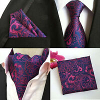Mens Purple Pink Floral Paisley Silk Necktie Ascot Cravat Pocket Square Set Lot