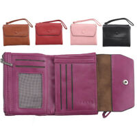 Ladies RFID Bocking Super Soft Faux Leather Purse 2 Zipped Pockets Pink Red Plum