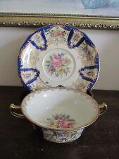 Rosenthal Ivory Bavaria Germany Creame Soup Bowl And Saucer Cobalt Blue Floral