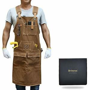 Briteree Woodworking Aprons for men,Gift for Woodworker,with 9 Tool Pockets,Dura