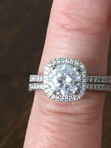 "Simon G. ""Cushion Halo"" Thin Diamond Engagement Ring with Band"