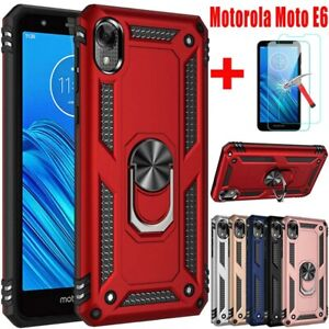 For Motorola Moto E6 Case Magnetic Metal Ring Stand Phone Cover +Tempered Glass