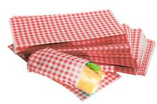 More details for red gingham design duplex grease proof paper sheets food burger wraps 250x375mm