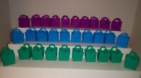 SHOPKINS SHOPPING BAGS TOTES LOT OF 30 BLUE PURPLE TEAL EMPTY 10 OF EACH COLOR