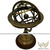 """ANTIQUE BRASS 10"""" ARMILLARY SPHERE GLOBE ASTROLABE ZODIAC SIGN WITH WOODEN BASE"""