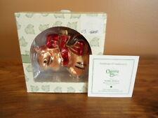 Fitz & Floyd Charming Tails Glass Ornament 'Holiday Ribbon' New w/ Coa