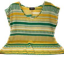 Fab'Rik Women's Blouse Short Sleeve Multi Color Print Yellow Green Tan