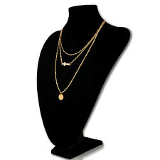 Hot Celebrity Choker Collar Statement Cross Gold 3 Layer Coin Pendants Necklace