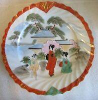 "ANTIQUE Kutani Hand Painted w Gilt Accents CABINET 7.5"" PLATE Japanese Geisha!"