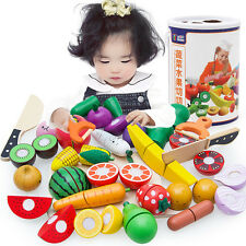 Wooden Fruit Kitchen Slice Baby Educational Cutting Toy Sets 14pcs/ Lot