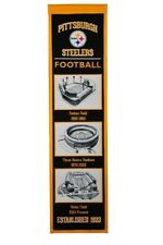 """PITTSBURGH STEELERS STADIUM EVOLUTIONS EMBROIDERED WOOL BANNER 8""""X32"""" NFL"""