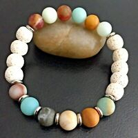 Natural Amazonite Gemstone Bracelet with Essential Oil Diffuser Lava Rock Beads