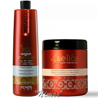Argan Nourishing Kit Seliar ® Shampoo 1000ml + Mask 1000ml Linseed Echos Line
