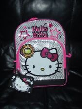 """Girls Hello Kitty Backpack 16"""" Kids Backpack W/Wristlet New W/Tags"""