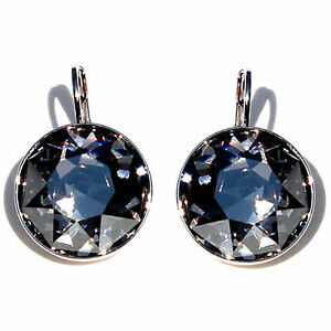 Large Round Bella Women Black Diamond  Earrings Made with SWAROVSKI Crystals®