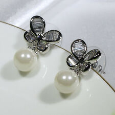 18K White Gold Filled CZ Shell Pearl Women Fashion Stud Dangle Earrings E2292B