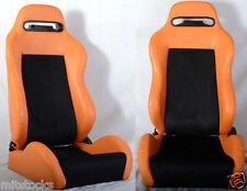 NEW 2 ORANGE & BLACK PVC LEATHER RACING SEATS RECLINABLE w/ SLIDER ALL HONDA