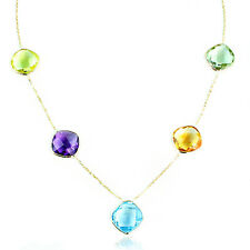 14K Yellow Gold Necklace With Cushion Cut Faceted Gemstones 16 Inches