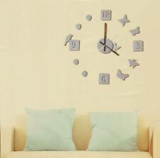 Hommy DIY Modern Room Interior Decoration Wall Clock - Butterfly & Bird - Black