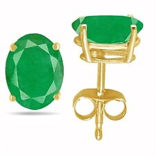 8x6 Oval Shape Emerald Earrings in 14k Yellow Gold