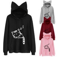 Womens Hoodies Jumper Sweatshirt Sweater Lantern Sleeve Tops Coat Loose Pullover