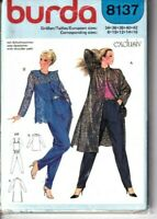 Burda Sewing Pattern Jacket Trousers Vest Coat Size 8-16 Duster Vintage UNCUT