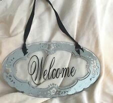 """Welcome Sign Glass Distressed Silver Black 11"""" Wide x 6.5"""" Tall Distressed Style"""