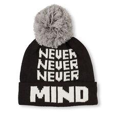 Boys 'Never Never Never Mind' Pom Pom Beanie HAT size S/M  (4-7 YR)