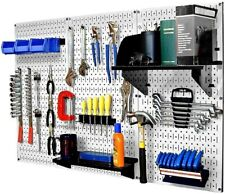 32x48 In Metal Pegboard Standard Tool Storage Kit With Black Peg Accessories New