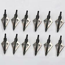 12pcs Hunting Broadheads 100Grain 3 Fixed Blade Arrowheads Screw in Point Arrows
