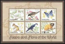 Tanzania 1998 MNH SS, Birds, Animals, Butterflies, Tamarin Monkey (Y9n)
