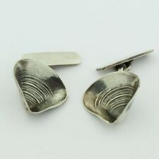 Silver Seashell Cufflinks Signed Vintage G Cini Pair Sterling