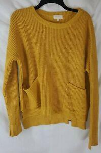 Melloday Women's Large 2 Pocket Knit Yellow Sweater Long Sleeve New