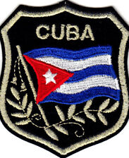 CUBA FLAG ON  SHIELD - CUBAN - FLAG WAVING - IRON ON EMBROIDERED PATCH