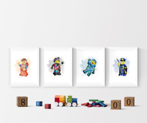 Lego Movie Watercolour Set Of 4 Prints Pictures Wall Art Poster