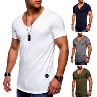 Men's Muscle Slim Fit Short Sleeve Casual V Neck T-shirt Tops Basic Tee Blouse