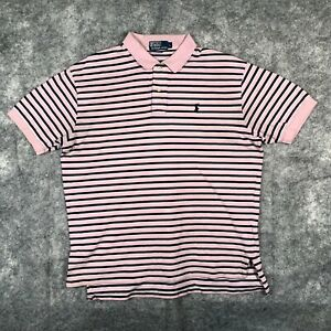 Ralph Lauren Polo Shirt Mens Large Red Stripe Short Sleeve Black Pony Stripe O1