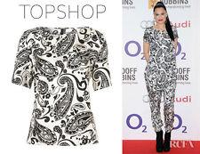 Topshop by Boutique Silk Black & White Paisley Print Tee UK 6 EURO 34 US 2 BNWT