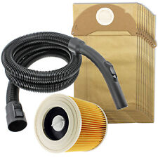 2m Hose + Filter + 10 Bags for KARCHER WD2 WD2.200 WD2.240 WD2024 WD2064 WD2200