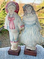 "Vintage Hand Stitched Pedestal Doll Seed Sack Cloth JEREMY & JESSICA 16"" ❤️m9"