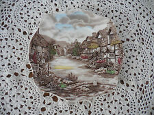 """Johnson Bros Olde English Countrys Square  Plate 8"""" """" ENGLAND  Green Makers Mark"""