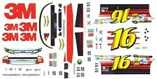 #16 Greg Biffle 3M Ford 2012 1/64th HO Scale Slot Car Waterslide Decals