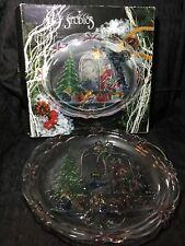 "Crystal Clear Studios 1992 Christmas Joy 14"" Round Platter #312230 NIB!"